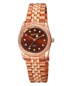 This Rose Goldtone & Brown Diamond-Dial Bracelet Watch is perfect! #zulilyfinds