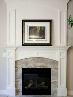 Fireplace design ideas are plentiful. A fireplace can really make the room, so careful planning and consideration are important. Granite Fireplace, Farmhouse Fireplace Mantels, Marble Fireplace Surround, Brick Fireplace Makeover, White Fireplace, Marble Fireplaces, Fireplace Remodel, Fireplace Wall, Living Room With Fireplace