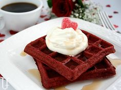 "Red velvet waffles with cream cheese whipped cream ""frosting"". Heck. Yes."