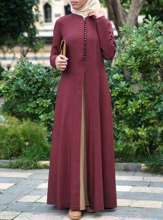 Contrast Godet Panel Abaya - Real Time - Diet, Exercise, Fitness, Finance You for Healthy articles ideas Islamic Fashion, Muslim Fashion, Abaya Fashion, Fashion Dresses, Girl Fashion, Hijab Style Dress, Abaya Style, Mode Abaya, Modele Hijab