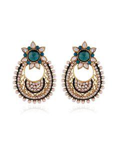 Party Wear Earrings. Item Code: JRUM537 http://www.bharatplaza.com/new-arrivals/jewellery.html