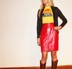 Womens Highwaisted/ Red Leather/ Pencil Skirt/ by URTHYCHURCHYPPL, $40.00