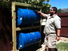 We show you how to build your own double barrel Compost bin. We used agave nectar barrels and built our own version.