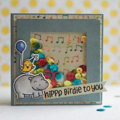 Birthday Card Lawn Fawn Hippo Birdie to You