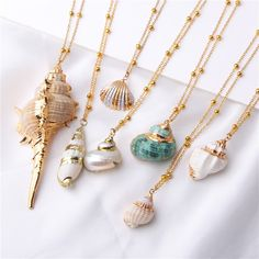 Boho Conch Shells Necklace Sea Beach Shell Pendant Necklace For Women Collier Femme Shell Cowrie Summer Jewelry Bohemian Seashell Necklace, Boho Necklace, Fashion Necklace, Pendant Necklace, Seashell Jewelry, Fashion Jewelry, Mermaid Jewelry, Summer Necklace, Women's Necklaces