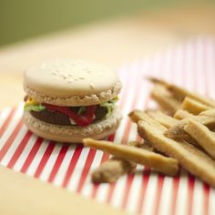Burger macarons with shortbread fries -- oh my goodness..how cute is that?! ;D lol