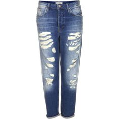 TOPSHOP MOTO Super Rip Hayden Boyfriend Jeans (€12) ❤ liked on Polyvore featuring jeans, pants, bottoms, pantalones, topshop, mid stone, ripped boyfriend jeans, blue jeans, blue ripped jeans and topshop boyfriend jeans
