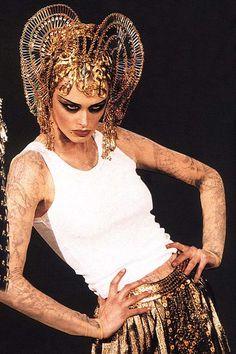 """John Galliano Fall Winter 1997 Ready-to-Wear   """"The Return of Cleopatra"""". Safety pin headdress..."""