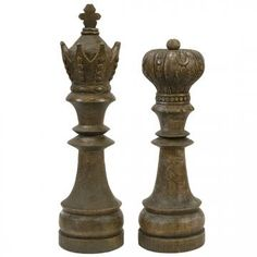 Large 15 Quot King Amp Queen Chess Piece Set New Distressed