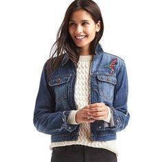 Gap Women 1969 Short Zip Embroidered Denim Jacket ($70) ❤ liked on Polyvore featuring outerwear, jackets, dark indigo, tall, short jean jackets, embroidered jacket, short denim jacket, zipper jacket and short-sleeve jackets
