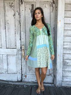 Stella dress-small medium-artsy-Eco clothing-upcycled