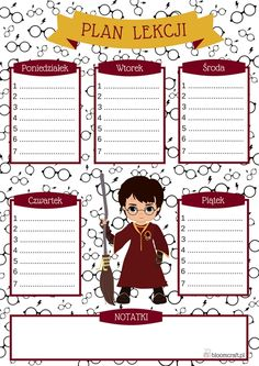 A lesson plan with Harry Potter for print, DIY and Crafts, lesson plan; pln lessons with Harry Potter,. School Planner, School Schedule, Harry Potter Journal, Weekly Planner Printable, Cute Drawings, Hogwarts, Lesson Plans, Back To School, Diy And Crafts