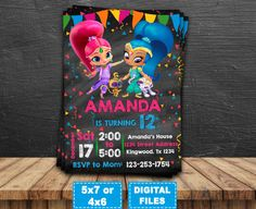Shimmer and Shine invitation, Shimmer and Shine birthday invitations, Shimmer and Shine party, Shimmer and Shine Printable, Digital file