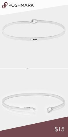"""""""OMG"""" Silver Tone Bangle Bracelet """"OMG"""" Silver Tone Bangle Bracelet. This is a fun and fashionable bracelet. It can be stacked and you can mix and match with different metal types. Jewelry Bracelets"""