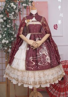 Precious Clove 【Nine Sons of the Dragon - The Music Dragon】 Qi Lolita Cape Dance Outfits, Cool Outfits, Fashion Outfits, 15 Dresses, Cute Dresses, Lolita Mode, Japan Outfit, Lolita Cosplay, Vestidos Vintage