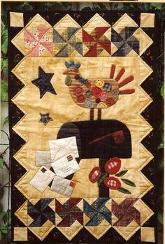 Country Threads :: Chicken Quilt Patterns :: First Class Mail Quilt pattern