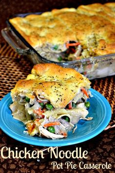 Make this Chicken Noodle Pot Pie Casserole on Monday and have enough for a few more days. The perfect busy week night dinner. Serve up a bowl of comfort with this chicken noodle pot pie casserole. Casserole Dishes, Casserole Recipes, Noodle Casserole, Noodle Soup, Chicken Casserole, Healthy Crockpot Recipes, Cooking Recipes, Pie Recipes, What's Cooking