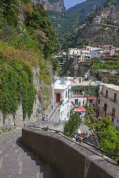 Escaleras a la playa, callejón, Positano, Costa de Amalfi, la Unesco Patrimonio de la Humanidad, Provincia de Salerno, Golfo de Salerno, Campania, Italia, Europa