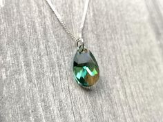 Resin Pendant, Pendant Necklace, Bridesmaid Accessories, Pear Shaped, Green And Brown, Sterling Silver Necklaces, Jewelry Collection, Swarovski Crystals, Gifts