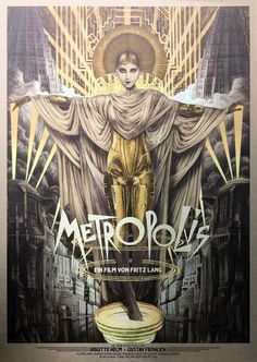 Fritz Lang poster by Tom Roberts Metropolis Film, Metropolis Poster, Metropolis Fritz Lang, Tv Movie, Comic Movies, Old Movies, Art And Illustration, Movie Poster Art, Poster Wall