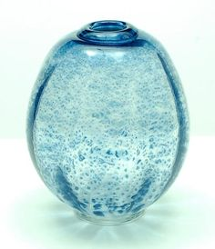 Clear glass Serica vase no.28 with blue colourpowders and crackle design A.D.Copier ca.1930 executed Glasfabriek Leerdam / the Netherlands
