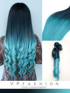 light blue dip dye black human hair extensions