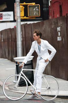 white suit on white bike  Strellson & Bianchi.