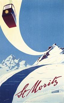 Vintage art deco poster for St Moritz,