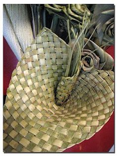 Weaving with flax.
