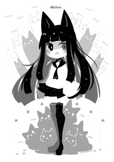 Anime Chibi, Chibi Cat, Anime Art, Character Drawing, Character Illustration, Character Design, Kawaii Drawings, Cute Drawings, Lolis Neko