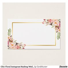 Chic Floral Instagram Hashtag Wedding Insert Card | Zazzle