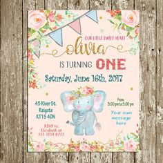 * Personalized Birthday invitation for a little girls birthday party with an elephant theme. It is for you to print at home, at a professional print shop, or through an on-line retailer. No item will be posted. This can even be used to send as a digital file to your guests. *Available