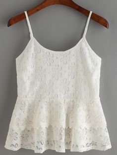 To find out about the White Spaghetti Strap Lace Ruffle Cami Top at SHEIN, part of our latest Tank Tops & Camis ready to shop online today! Pretty Outfits, Cool Outfits, Casual Outfits, Cami Tops, Peplum Tops, Girl Fashion, Fashion Outfits, Fashion Design, Modelos Fashion