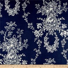Waverly Country House Toile Indigo Blue from @fabricdotcom  This medium weight linen rayon blend fabric features a screen printed floral toile pattern with a slub. Perfect for window accents (draperies, valances, curtains and swags), toss pillows, bed skirts, duvet covers and slipcovers, and get creative with tote bags and aprons. Colors include indigo and cream.
