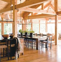9 best popular log home and timber frame home floor plans - Kitchen and dining area design crossword ...