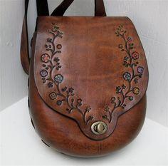 Large Bag Shoulder Crossbody Molded Tooled Leather by karenkell, $260.00