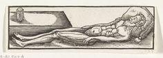 Anonymous   Het naakte lichaam van de overleden kardinaal-infant Ferdinand van Oostenrijk, 1641, Anonymous, 1641   Het naakte lichaam van de kardinaal-infant Ferdinand van Oostenrijk, overleden op 9 november 1641. Het hoofd rust op een kussen, bij zijn voeten een zandloper. De afbeelding behoort bij een tekstblad met een lied.