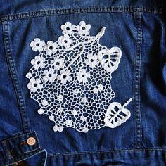 Cherry blossom branch crochet lace