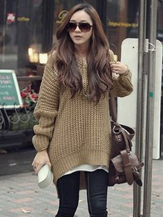 Women Fashion Pure Color Irregular Loose Hooded Sweater