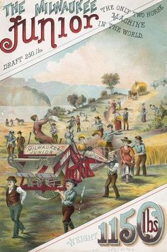 Back cover of an advertising brochure for the Milwaukee Harvester Company featuring a color chromolithograph illustration of the Milwaukee Junior binder