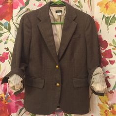 J. Crew Brown Herringbone Blazer Great condition. Reposh, but I only wore it once. All buttons are in tact. I believe this is the Factory version of the Schoolboy fit. Pinstripe lining on the sleeves. J. Crew Jackets & Coats Blazers