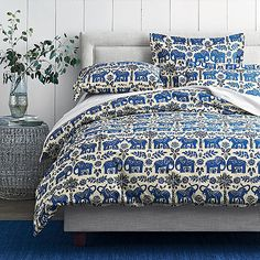 Haathi Percale Duvet Cover   The Company Store.  His and hers shared bedroom for daughter and son.