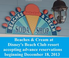 Disney has begun accepting advance dining reservations for seatings beginning December 18, 2014 at Beaches and Cream at Disney's Beach Club Resort.  For more information about #Disney World ride closures, special events and crowds during your month of travel, see: http://www.buildabettermousetrip.com/monthly-newsletters.php #WDW