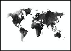 World Map Watercolor, poster i gruppen Posters / Storlekar / 50x70cm hos Desenio AB (8451)