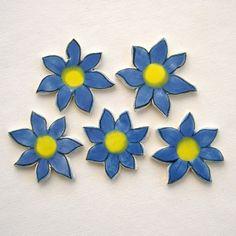 Mosaic tiles Ceramic supplies Art Tile flowers floral hand painted tiles for mosaics, decorative uses