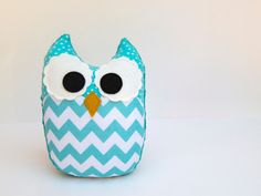 Chevron Owl Plush Baby Toy Minky Softie Mini Pillow Aqua Teal. $14.00, via Etsy.