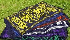 1 x WHITE & BLACK CELTIC NORSE SARONG - ALTAR CLOTH Wicca Pagan Witch Goth RAYON