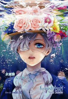 Ciel Phantomhive- is anyone other than me questioning why he's wearing a flower hat? Oh my glob I bet it was Lizzie XD