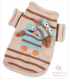 Owl Love You Forever Dog Sweater with owl toy