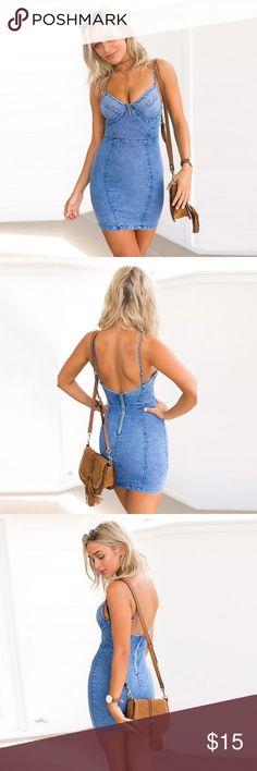 "NWOT Denim Bodycon Mini Dress S $69 NWOT Denim Bodycon Mini Dress  Condition: New without tags Color: Acid Wash Size: S (would fit 24""-26"") Retail Price US$69  Tiger Mist style! Fashion Nova Dresses Mini"